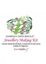Shamrock Green Bracelet Jewellery Making Kit With Wire For Up To 10 Bracelets, Mixed Beads, End Caps, Rubber Tube, Instructions + FREE Luxury Gift Bag  & New Optional Pliers