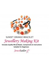 Sunset Orange Bracelet Jewellery Making Kit With Wire For Up To 10 Bracelets, Mixed Beads, End Caps, Rubber Tube, Instructions + FREE Luxury Gift Bag & New Optional Pliers