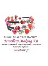 Turkish Delight Red Bracelet Jewellery Making Kit With Wire For Up To 10 Bracelets, Mixed Beads, End Caps, Rubber Tube, Instructions + FREE Luxury Gift Bag & New Optional Pliers