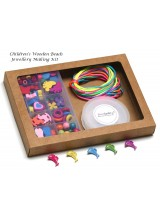 Children's Wooden Beads Jewellery Making Gift Set ~ Includes No Spill Bead Box, Elastic, Guide, Cord & Gift Box + Free Bonus Charms