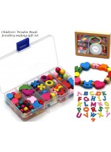 NEW! Children's Wooden Beads Jewellery Making Gift Set With Free Personalised Letter Pendant  & Bonus Beads~ Includes No Spill Bead Box, Elastic, Guide, Cord & Gift Box~ SPECIAL INTRODUCTORY PRICE!