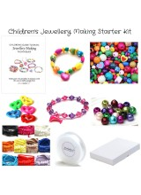 NEWLY UPDATED! Children's Jewellery Making Starter Kit With Large Hole Wooden Beads,Elastic, Charms & Cord For Up To 40+ Bracelets+ Free Gift Box, Guide & Bonus Beads!