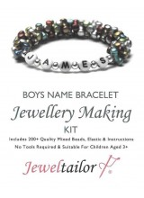 Bespoke Boys Name Bracelet Jewellery Making Kit With Your Choice Of Name, 200+ Mixed Beads, Elastic, Instructions + FREE Luxury Gift Bag ~ Perfect For Parties, Indoor Craft Activities & Gifts