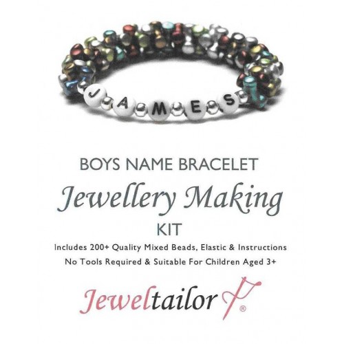 Bespoke Boys Name Bracelet Jewellery Making Kit With 200 Quality Mixed Beads Elastic Instructions Free Luxury Gift Bag Choose Your Own For A