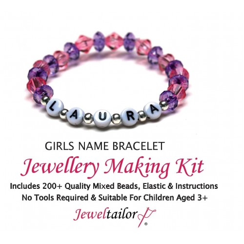 1 5 S Name Bracelet Jewellery Making Kit With 200 Quality Mixed Beads Elastic Instructions Extra Letters Option Free Luxury Gift Bag