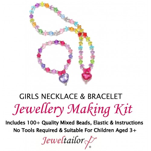 New Girls Sparkly Necklace Bracelet Jewellery Making Kit With 100
