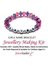 Bespoke Girls Name Bracelet Jewellery Making Kit With Your Choice Of Name, 200+ Mixed Beads, Elastic, Instructions + FREE Luxury Gift Bag ~ Perfect For Parties, Indoor Craft Activities & Gifts