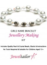 NEW! Teenager Pearl & Crystal Personalised Name Bracelet Jewellery Making Kit + FREE Luxury Gift Bag ~ Ideal For Bridesmaids, Birthdays & Other Special Occasions