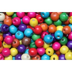 100-500 Mixed Large Hole Children's Round Coloured Wooden Beads 14mm + Elastic Option ~ Ideal For Craft Activities & Parties