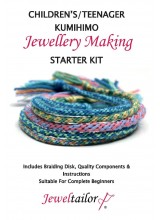 Children's/Teenager Kumihimo Starter Kit With Beadsmith Braiding Disc, Quality Mixed Cord, Fully Illustrated Guide + Bonus Sparkly Metallic Thread & Free Luxury Gift Bag~ A Perfect Activity or Gift