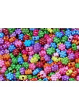 100-500 Mixed Large Hole Children's Acrylic Sparkly Flower Beads 12mm + Elastic Option~ Ideal For Craft Activities & Parties