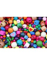 150-450 Mixed Large Hole Children's Coloured Wooden Beads 4-45mm + Elastic Option ~ Ideal For Craft Activities & Parties