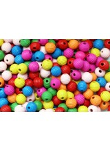 NEW! 100-500 Mixed Large Hole Children's Round Wooden Ribbed Beehive Beads 14mm + Elastic Option ~ Ideal For Craft Activities & Parties