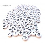 150 White Acrylic Mixed Alphabet Initial Letter Beads 7mm ~ Ideal For Children's Craft Activities & Parties