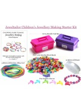Children's Complete Jewellery Making Starter Kit With 1,000+ Beads, Elastic & Cord For Up To 30+ Bracelets+ Free Craft Box & Charms ~ A Great Gift For Hours of Creative Fun