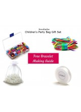 NEW! Children's Party Bag Jewellery Gift Set With Wooden Beads In A Box, Elastic, Guide, Cord & FREE Luxury Gift Bag