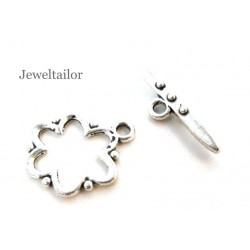 10 Sets Silver Plated Flower Design Toggle Clasps Sets 18mm ~ Limited Editions Collection