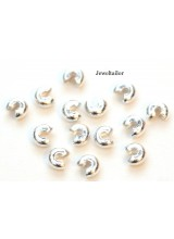 50-200 Shiny Silver Plated Nickel Free Crimp Bead Covers 3mm ~ Jewellery Making Essentials