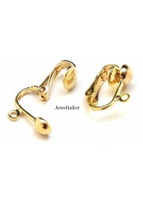4-20 Gold Plated Nickel Free Clip On Earring Adapters 16mm ~ Jewellery Making Essentials