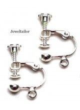 4 Silver Plated Screw Back Earring Clip Ons 17mm x 14mm ~ Jewellery Making Essentials