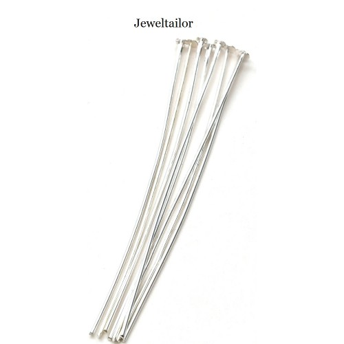 Straight silver plated EYE pins good quality EYEPINS 40mm long 0.7mm thick