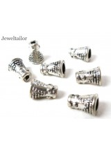 20-100 Bali Antique SilverPlated Lead & Cadium Free End Cones 8mm  ~ Jewellery Making Essentials