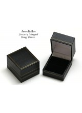 1 Luxury Leather Effect Black Ring or Cufflink Gift Box 4.7cm (1.9 Inch) ~ With Quality Satin Interior & Snap Shut Lid