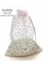 NEW! 10 Extra Large Luxury White Polka Dot Organza Gift Bags 25 x 17cm ( 9.8 x 6.7 Inches) With Satin Ribbon ~Ideal For Special Occasions