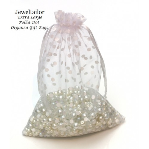 10 Extra Large Luxury White Polka Dot Organza Gift Bags 25 X 17cm 9 8 6 7 Inches With Satin Ribbon Ideal For Special Occasions