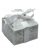 "NEW! 1 Luxurious Small White Glitter & Ribbon Bow Favour Box 9cm (3.5"") ~ Ideal For Special Occasion Sweets, Cup Cakes & Small Gifts"