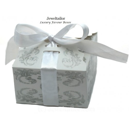 New 1 Luxurious Small White Glitter Ribbon Bow Favour Box 9cm