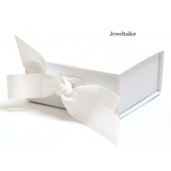 NEW! 1 Luxurious Small White Grosgrain Ribbon Tie Gift Box 11cm (4.3 Inches) ~ An Ideal Gift, Jewellery or Presentation Box