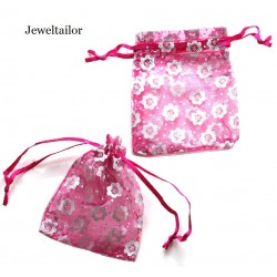 10 Stylish Deep Pink & Shiny Silver Daisy Organza Gift Bags 9 x 7cm With Satin Ribbon ~Ideal For Small Gifts