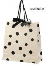 1 Luxury Black & White Polka Dot Gift Bag With Satin Ribbon Bow 22cm (8.7 Inches)~ Quality Instant Gift Wrapping