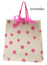 1 Luxury Pink & White Polka Dot Gift Bag With Satin Ribbon Bow 22cm (8.7 Inches) ~ Quality Instant Gift Wrapping