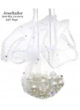 10 Luxury White Sparkly Round Organza Gift Bags 26cm (10.2 Inches) With Satin Ribbon ~ Ideal Packaging For Wedding Favours, Bath Bombs or Confectionary