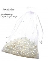 NEW! 10 Large Luxury White Sparkly Organza Gift Bags 20 x 15cm ( 7.8 x 5.9 Inches) With Satin Ribbon ~ Ideal For Special Occasions