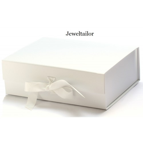 New 1 Luxurious Extra Large White Grosgrain Ribbon Tie Gift Box