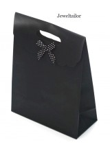 NEW! 1 Small Luxury Black Gift Bag With Front Bow & Velcro Seal 16cm (6.3 Inches) ~ Stylish Instant Gift Wrap