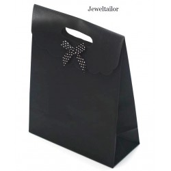 NEW! 1 Large Luxury Black Honeycomb Fabric Gift Bag With Front Bow & Velcro Seal 26cm (10.2 Inches) ~ Stylish Instant Gift Wrap