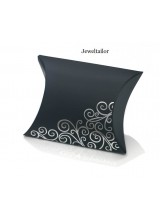 "NEW! 1 Small Luxury Black & Silver Swirl Pillow Box 8 x 9cm (3 x 3.5"") ~ An Ideal Gift or Presentation Box"