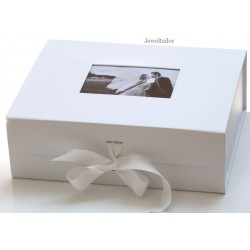 NEW! 1 Luxurious Extra Large White Photo Lid Gift Box 33cm (13 inches) With Changeable Grosgrain Ribbon Tie ~ An Ideal Personal Keepsake, Gift or Bespoke Hamper Box