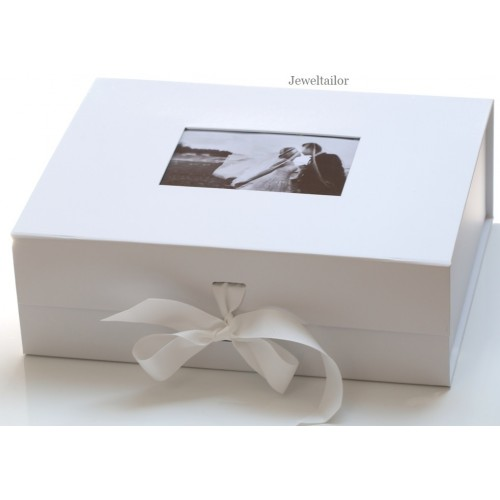 New 1 Luxurious Extra Large White Photo Lid Gift Box 33cm 13
