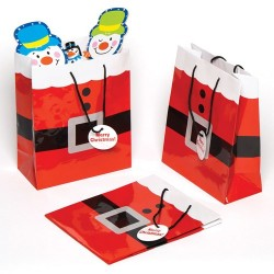 1 Santa Suit Festive Gift Bag With Black Rope Handles 22cm (9 Inches) ~ Stylish Instant Christmas Gift Wrap