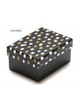 NEW! 1 Luxury Retro Dot Patterned Small Black Gift Box 11.5cm (4.5 Inches) ~ Ideal For Bespoke Gifts Such as Jewellery, Ties, Scarfs & More