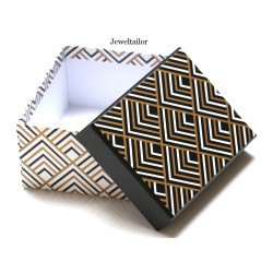 NEW! 1 Luxury Geometric Patterned Small Gift Box 11.5cm (4.5 Inches) ~ Ideal For Bespoke Gifts Such as Jewellery, Ties, Scarfs & More