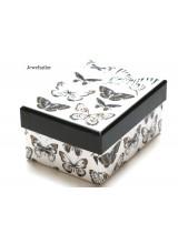 NEW! 1 Luxury Butterfly Pattern Small White Gift Box 11.5cm (4.5 Inches) ~ Ideal For Bespoke Gifts Such as Jewellery, Ties, Scarfs & More