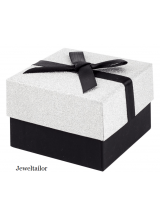 NEW! 1-4 Luxurious Small Black & Silver Glitter Gift Box With Satin Ribbon Bow 7.cm (2.8 Inches) ~ Ideal For Earrings, Bracelets, Necklaces, Rings, Cufflinks & Bespoke Gifts