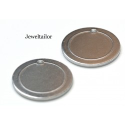NEW! 10 Impressart Aluminium Circle Border Stamping Blanks with Hole 19mm (3/4 Inch) & 1.2mm Thick ~ For Unique Jewellery Making