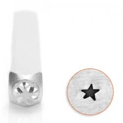 New! 1 Impressart Angled Solid Star Design Stamp 3mm ~ Ideal For Metal, Wood, Leather & More